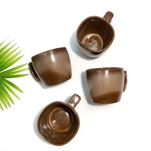 Frankoma 5C Brown Satin Coffee Mugs (Set of 4)